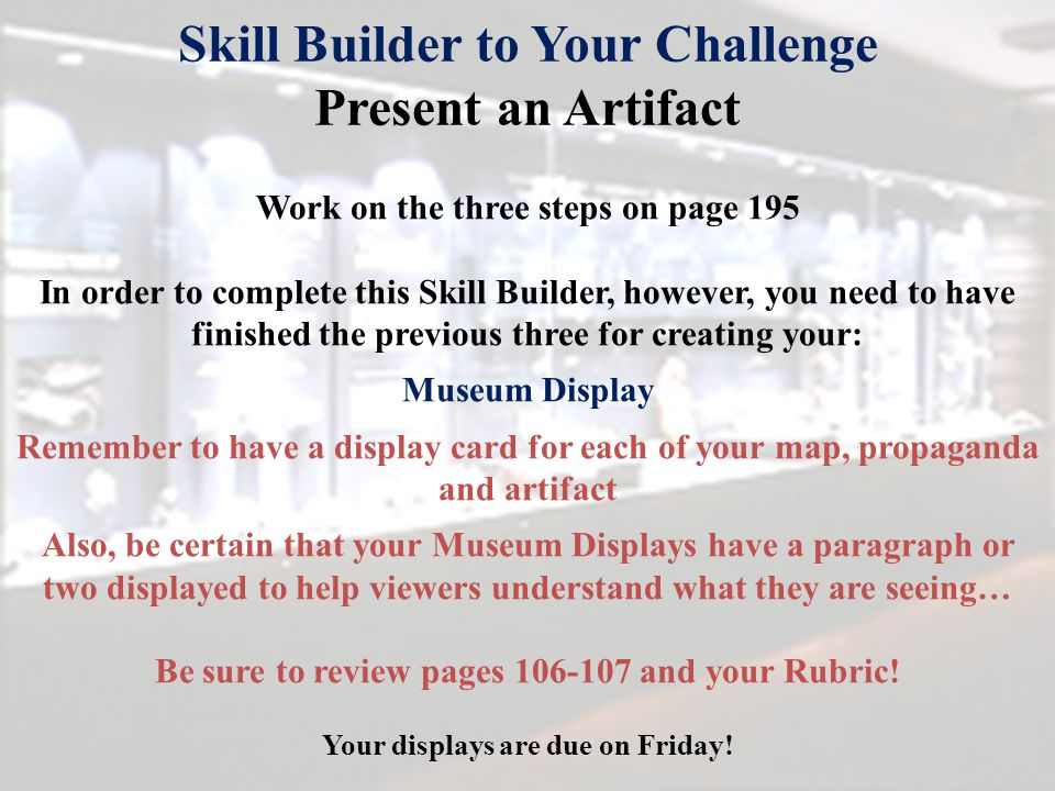 Skill Builder to Your Challenge Present an Artifact