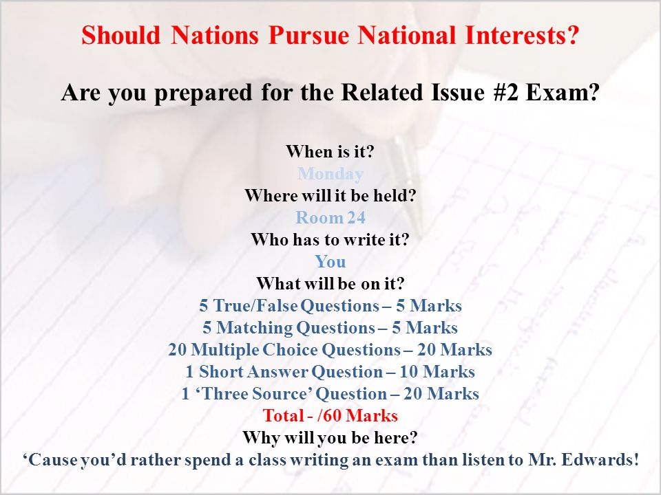 Should Nations Pursue National Interests