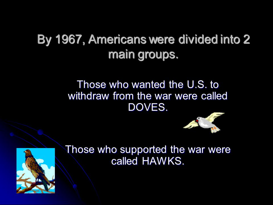 By 1967, Americans were divided into 2 main groups.