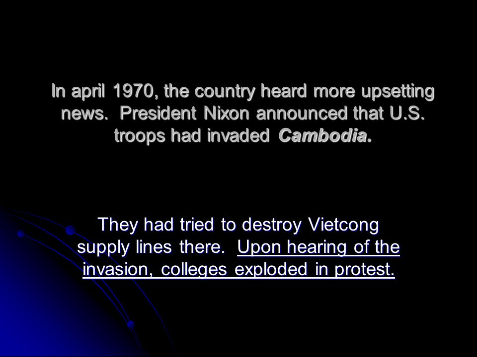 In april 1970, the country heard more upsetting news