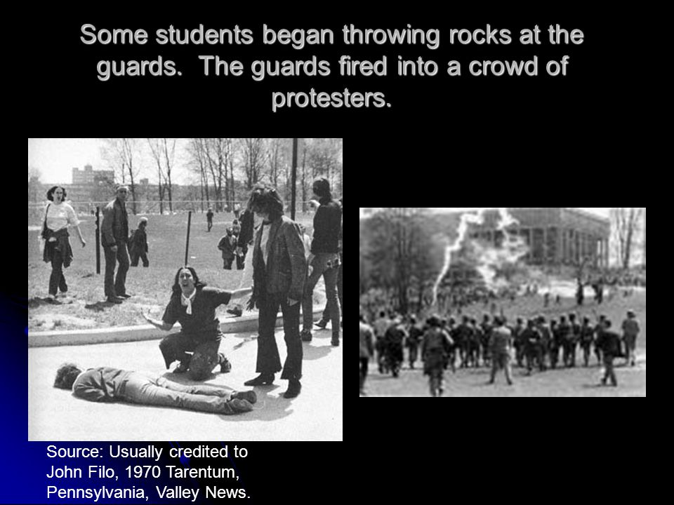 Some students began throwing rocks at the guards