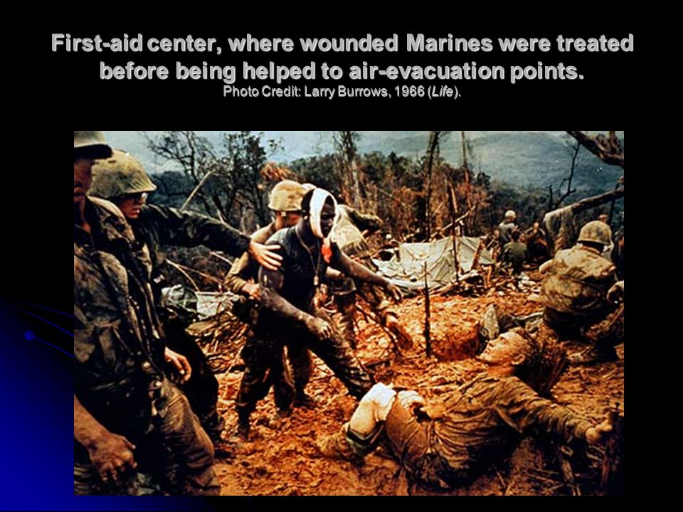 First-aid center, where wounded Marines were treated before being helped to air-evacuation points.