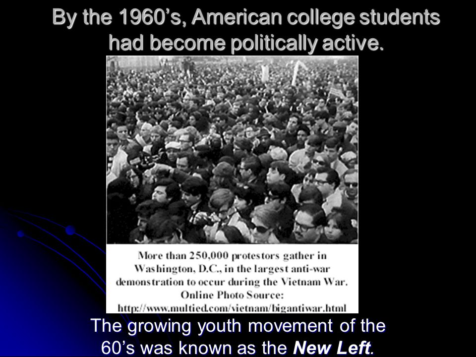 The growing youth movement of the 60's was known as the New Left.