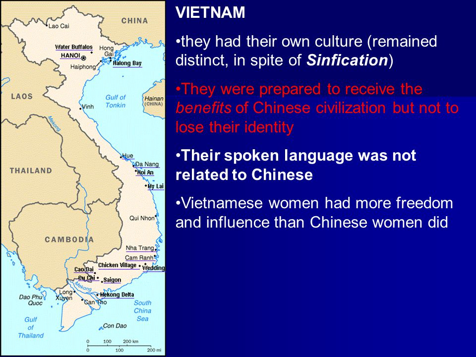 VIETNAM they had their own culture (remained distinct, in spite of Sinfication)