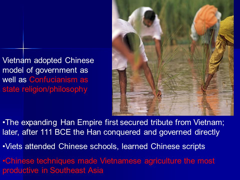 Vietnam adopted Chinese model of government as well as Confucianism as state religion/philosophy