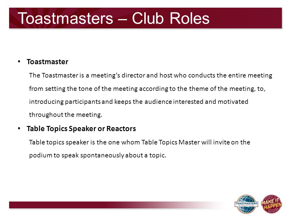 Toastmasters – Club Roles