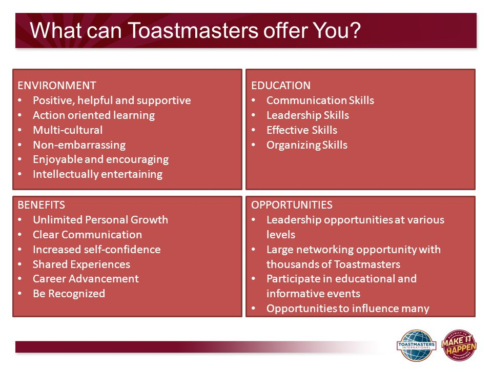 What can Toastmasters offer You