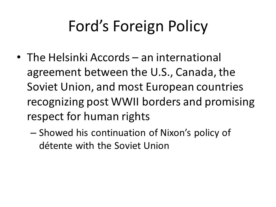 Ford's Foreign Policy