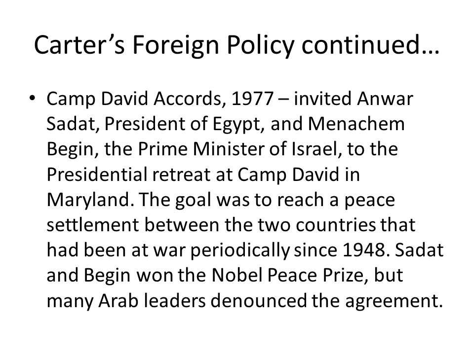Carter's Foreign Policy continued…