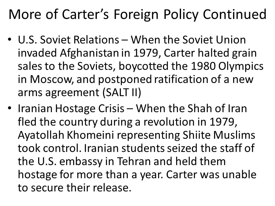 More of Carter's Foreign Policy Continued