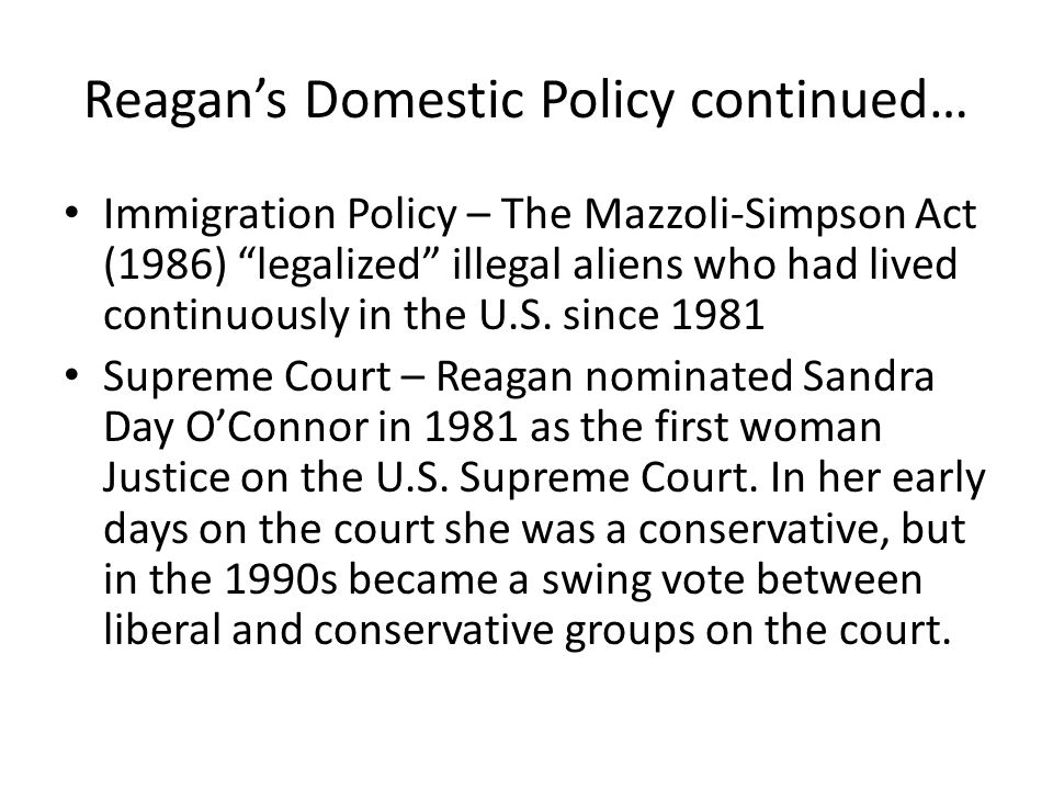 Reagan's Domestic Policy continued…