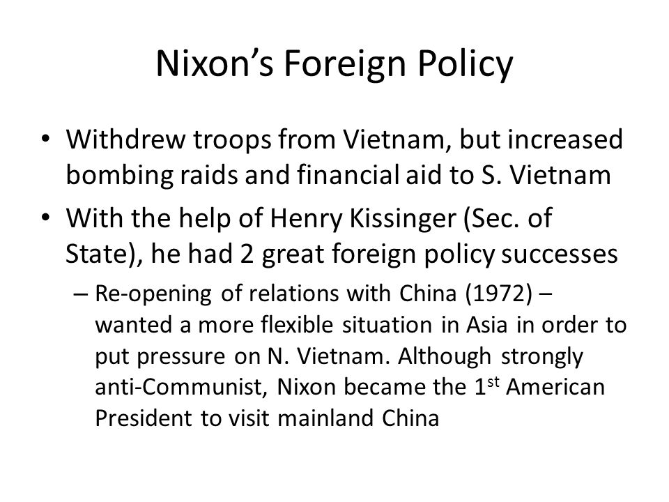 Nixon's Foreign Policy