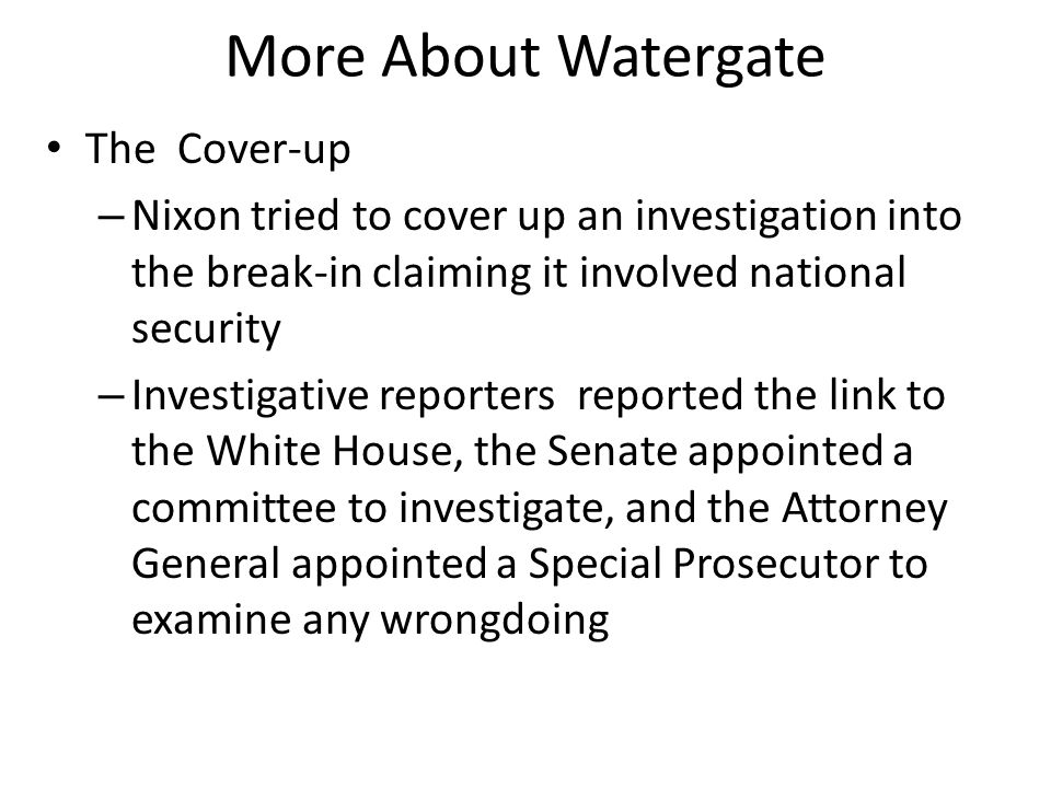 More About Watergate The Cover-up
