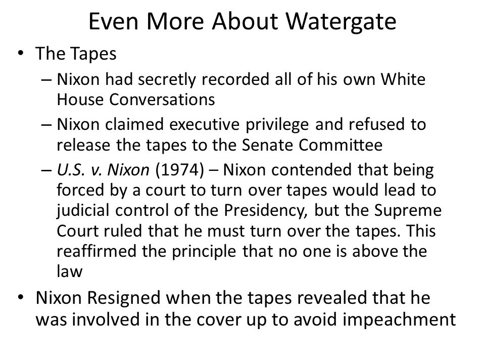 Even More About Watergate