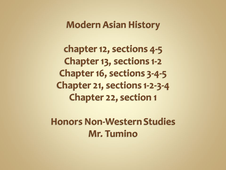 Modern Asian History chapter 12, sections 4-5 Chapter 13, sections 1-2 Chapter 16, sections 3-4-5 Chapter 21, sections 1-2-3-4 Chapter 22, section 1 Honors Non-Western Studies Mr.