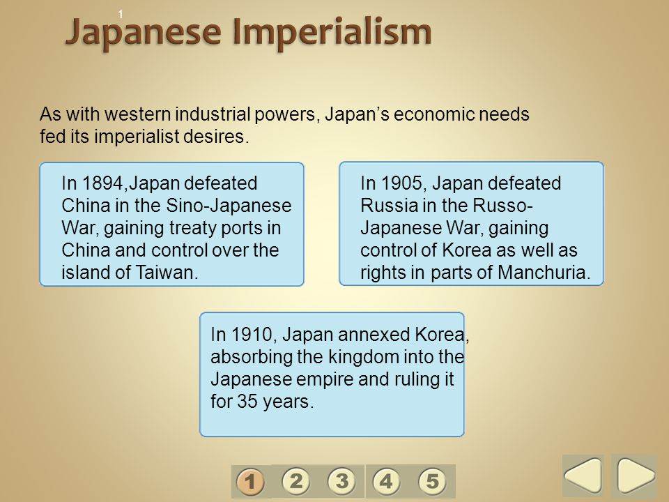 1 Japanese Imperialism. As with western industrial powers, Japan's economic needs fed its imperialist desires.