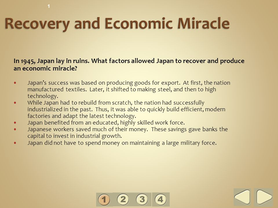 Recovery and Economic Miracle