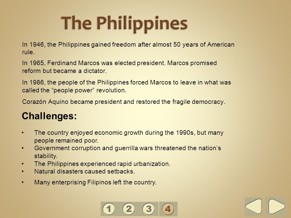 The Philippines Challenges:
