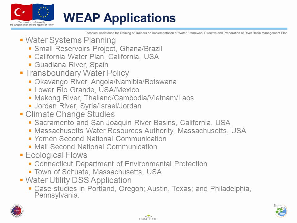 WEAP Applications Water Systems Planning Transboundary Water Policy