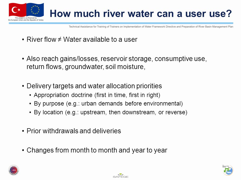 How much river water can a user use