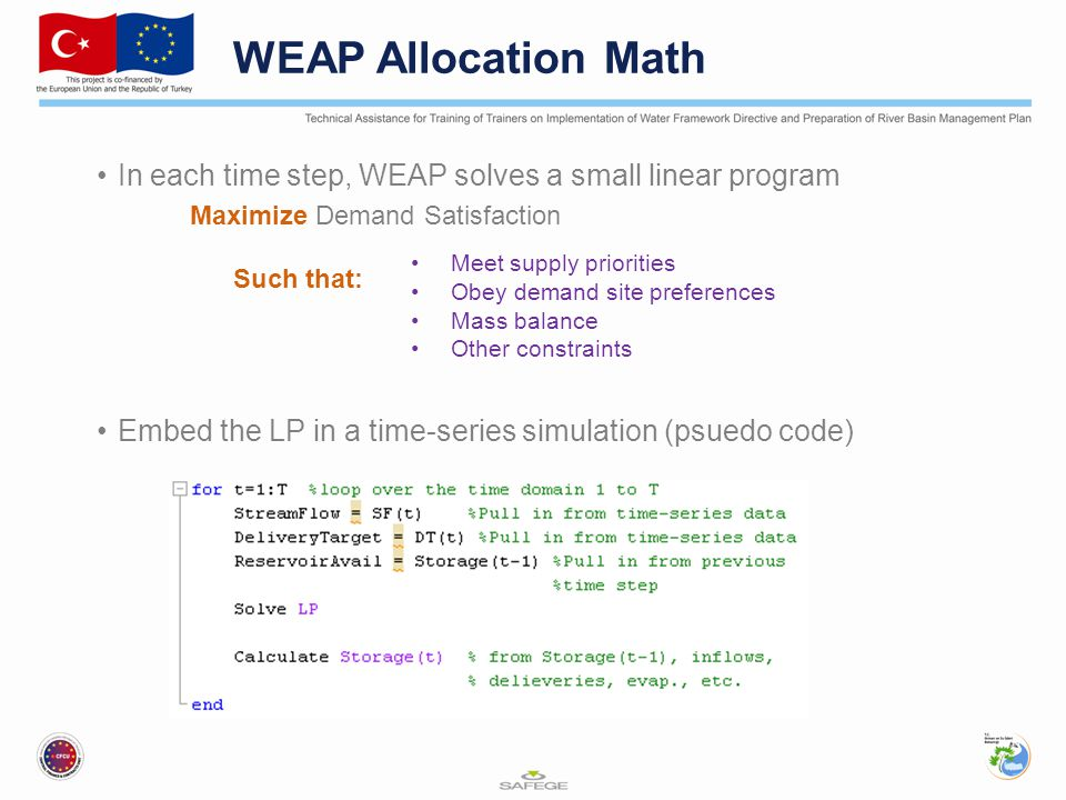 WEAP Allocation Math In each time step, WEAP solves a small linear program. Maximize Demand Satisfaction.