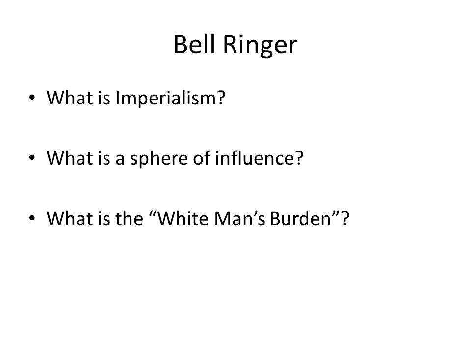 Bell Ringer What is Imperialism What is a sphere of influence