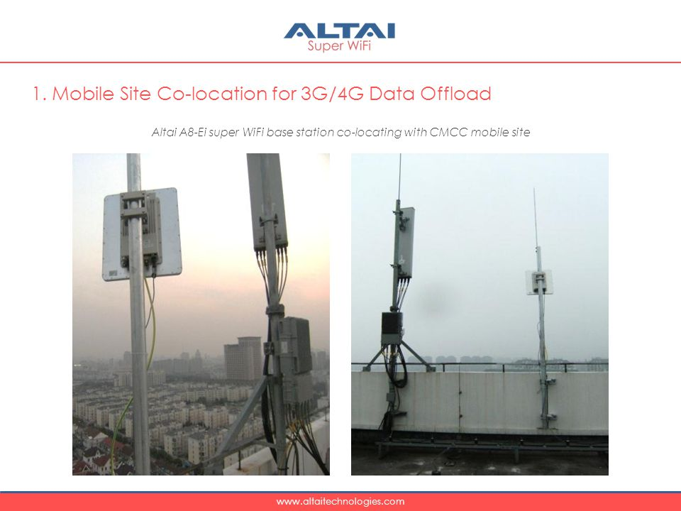 Altai A8-Ei super WiFi base station co-locating with CMCC mobile site