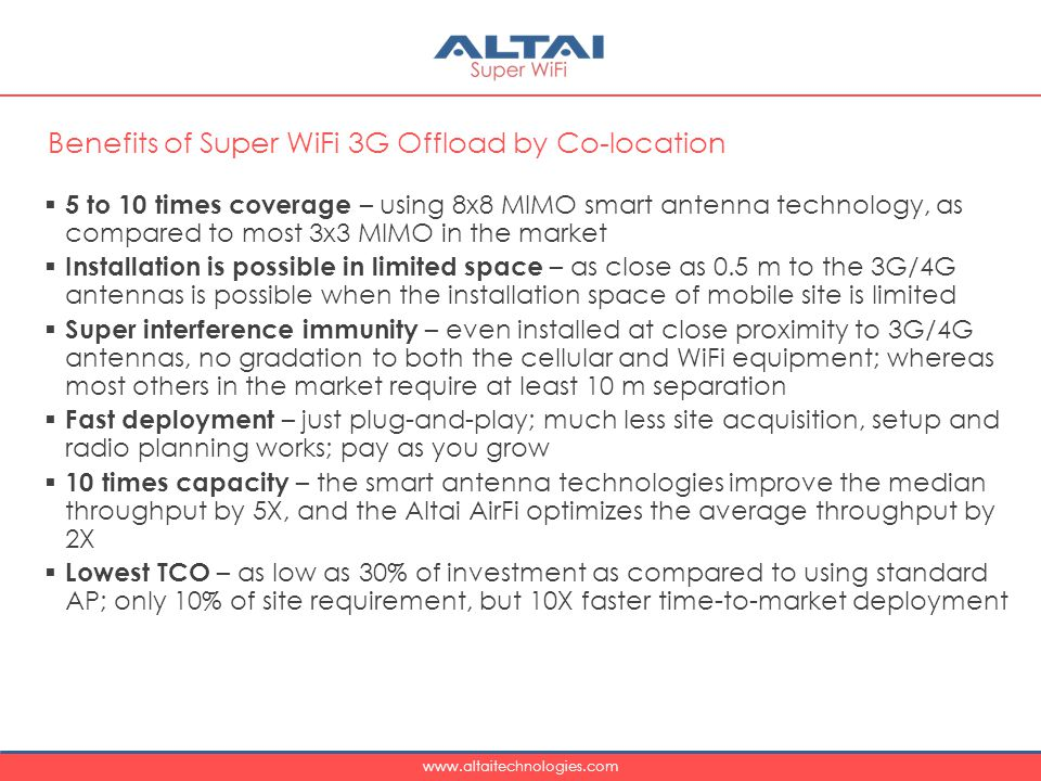 Benefits of Super WiFi 3G Offload by Co-location
