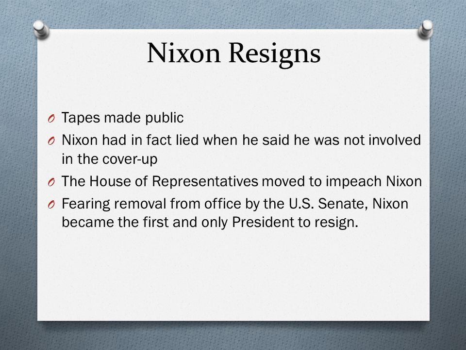 Nixon Resigns Tapes made public