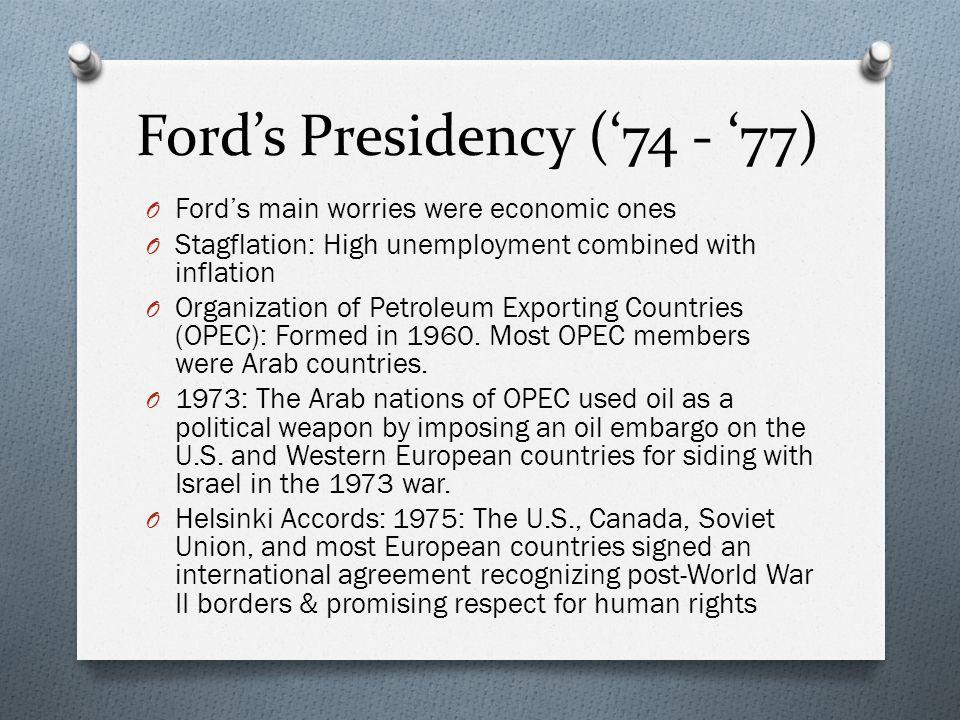 Ford's Presidency ('74 - '77)