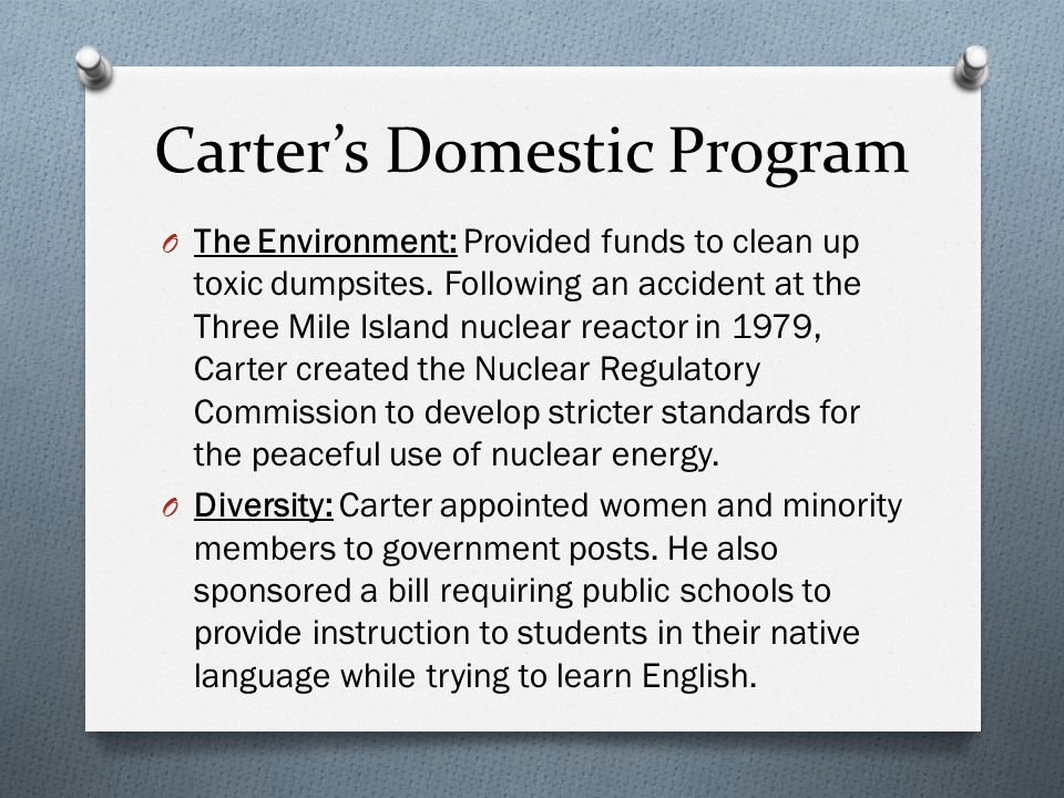 Carter's Domestic Program