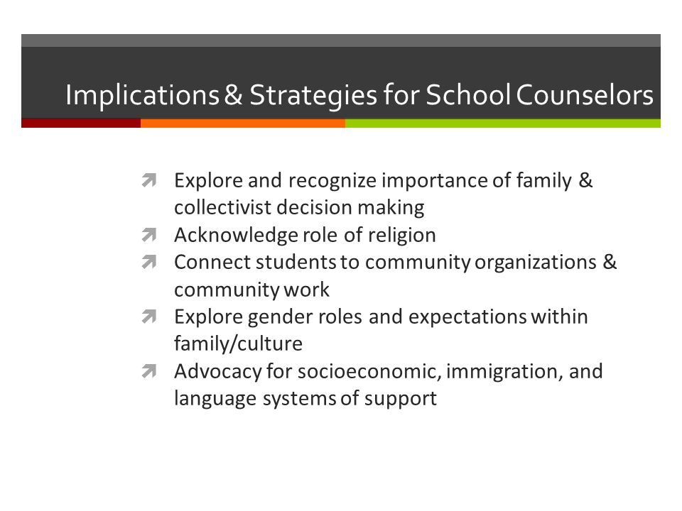 Implications & Strategies for School Counselors