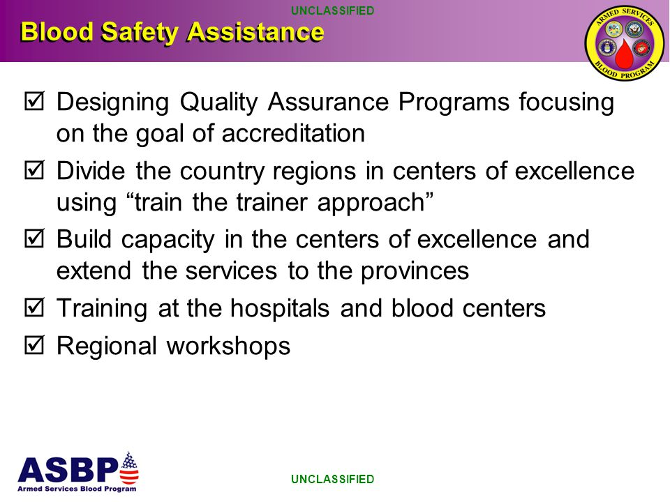 Blood Safety Assistance