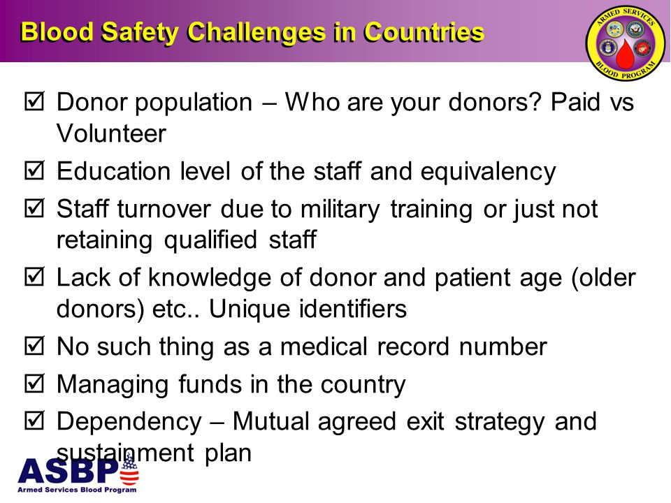 Blood Safety Challenges in Countries