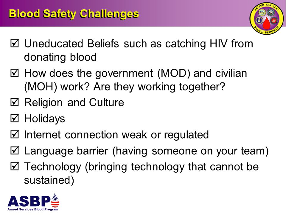 Blood Safety Challenges