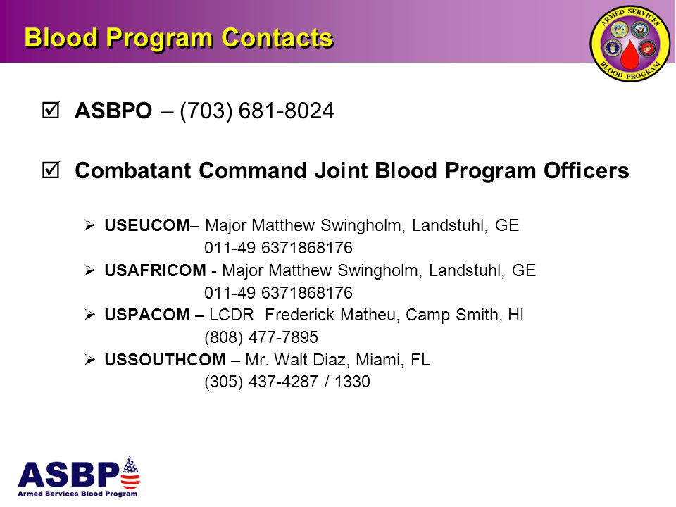 Blood Program Contacts