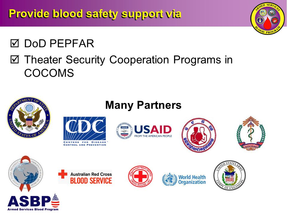 Provide blood safety support via