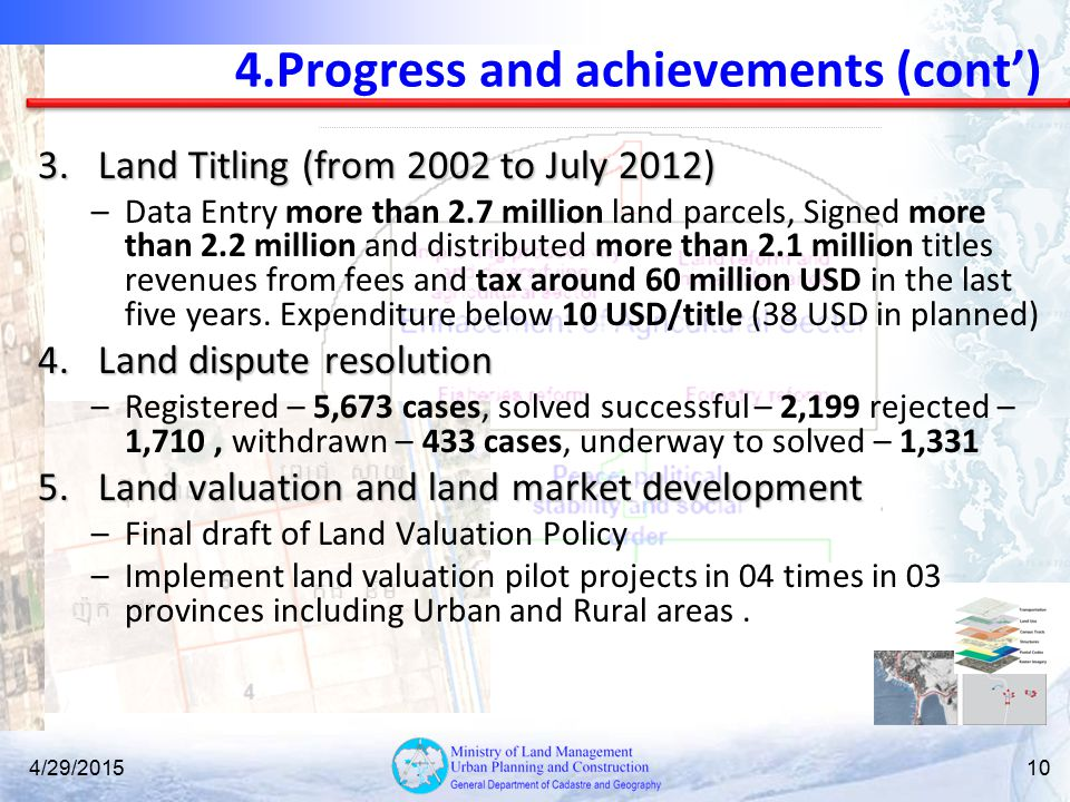 4.Progress and achievements (cont')