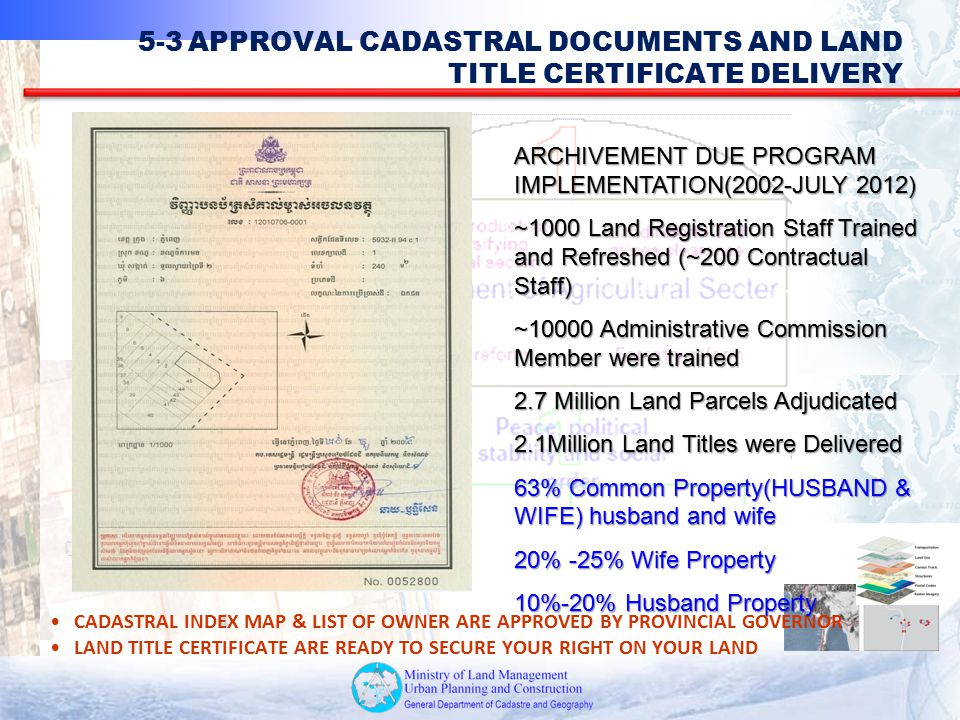 5-3 APPROVAL CADASTRAL DOCUMENTS AND LAND TITLE CERTIFICATE DELIVERY
