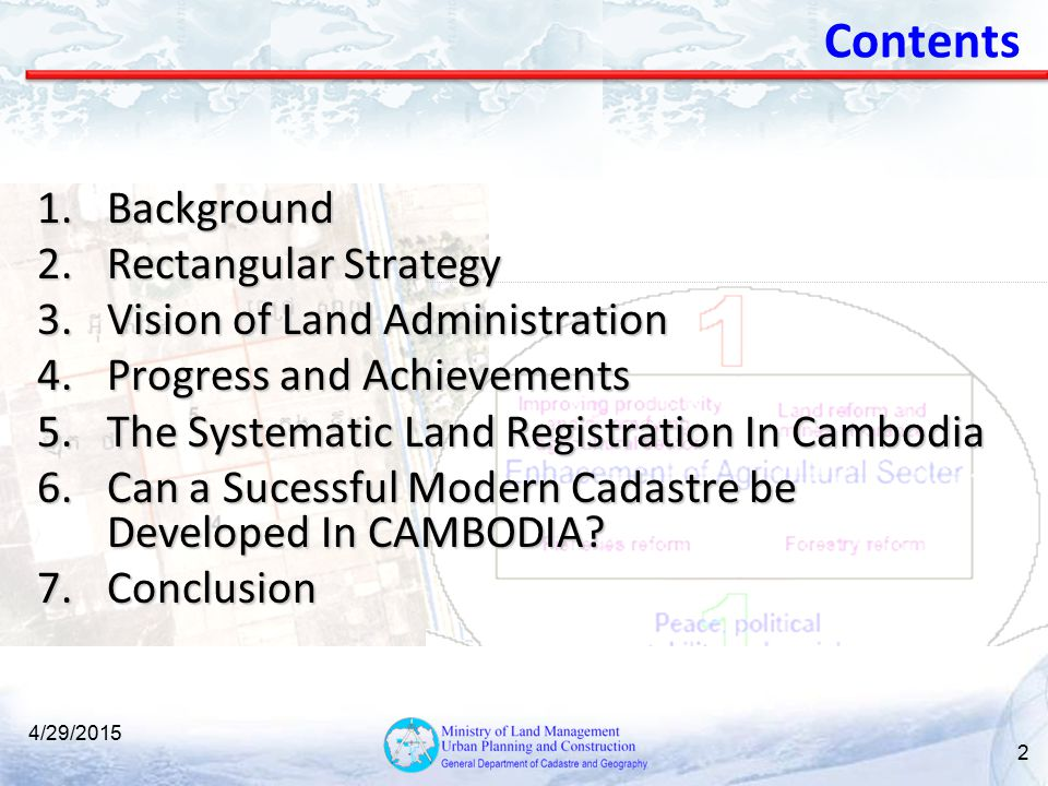 Contents Background Rectangular Strategy Vision of Land Administration