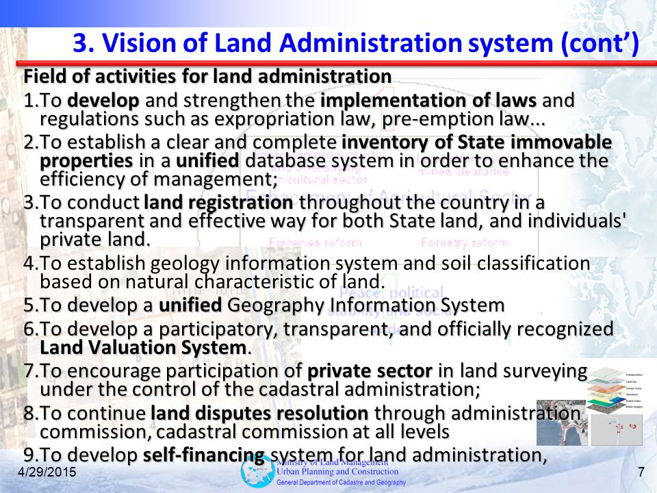 3. Vision of Land Administration system (cont')