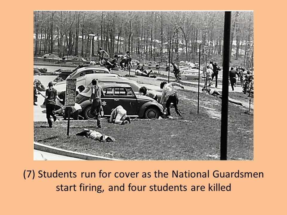 (7) Students run for cover as the National Guardsmen start firing, and four students are killed