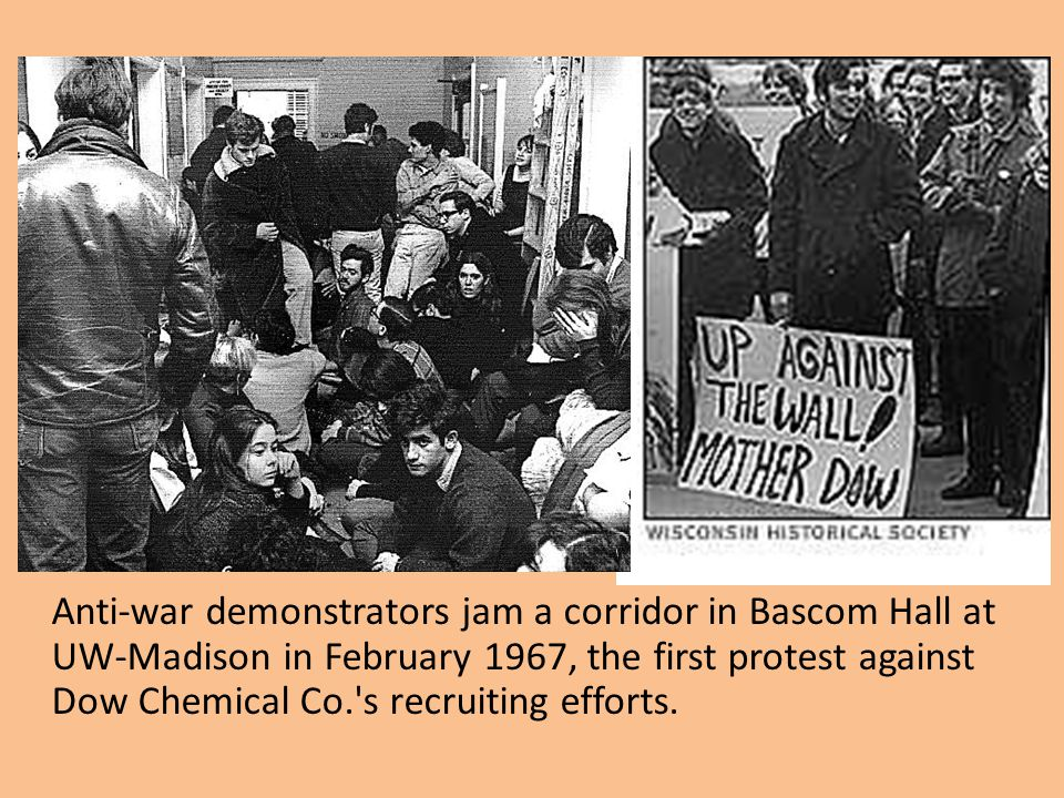 Anti-war demonstrators jam a corridor in Bascom Hall at UW-Madison in February 1967, the first protest against Dow Chemical Co. s recruiting efforts.