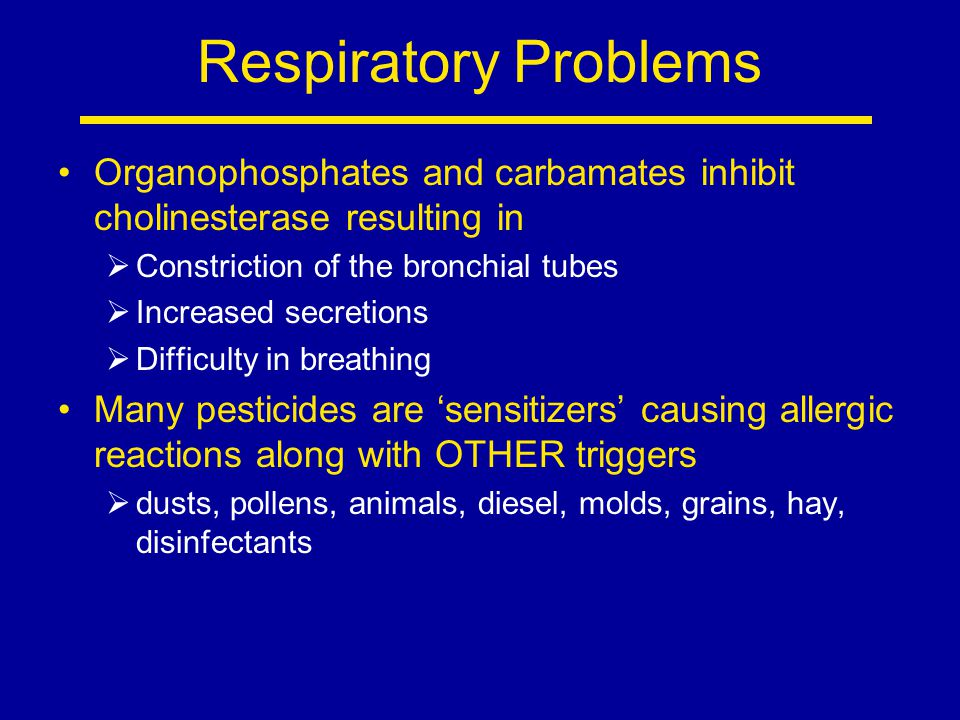 Respiratory Problems Organophosphates and carbamates inhibit cholinesterase resulting in. Constriction of the bronchial tubes.