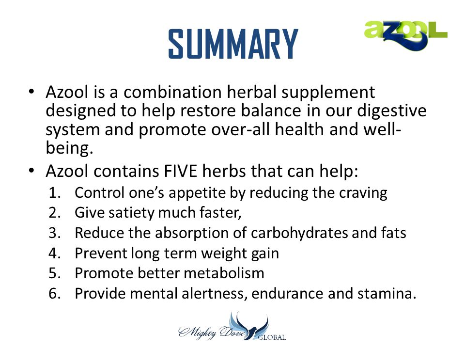 SUMMARY Azool is a combination herbal supplement designed to help restore balance in our digestive system and promote over-all health and well-being.