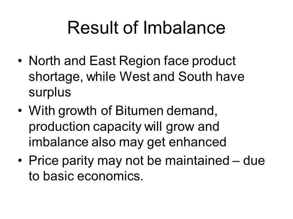 Result of Imbalance North and East Region face product shortage, while West and South have surplus.