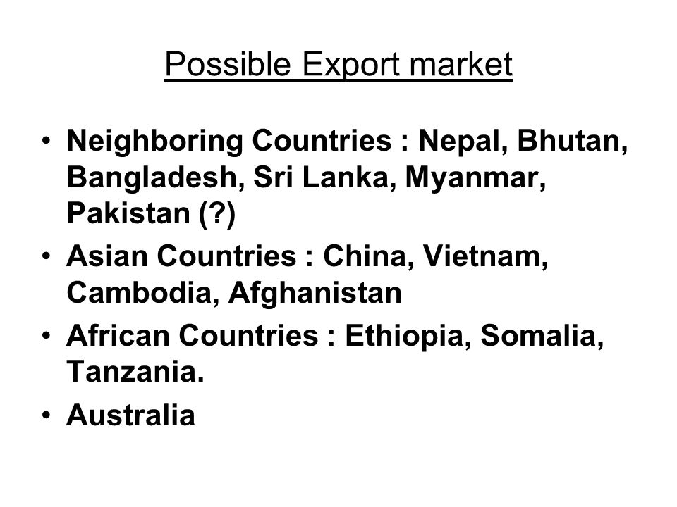 Possible Export market