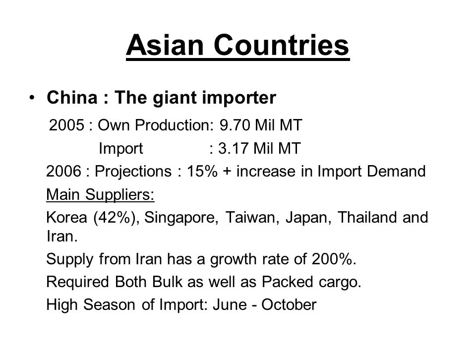 Asian Countries China : The giant importer