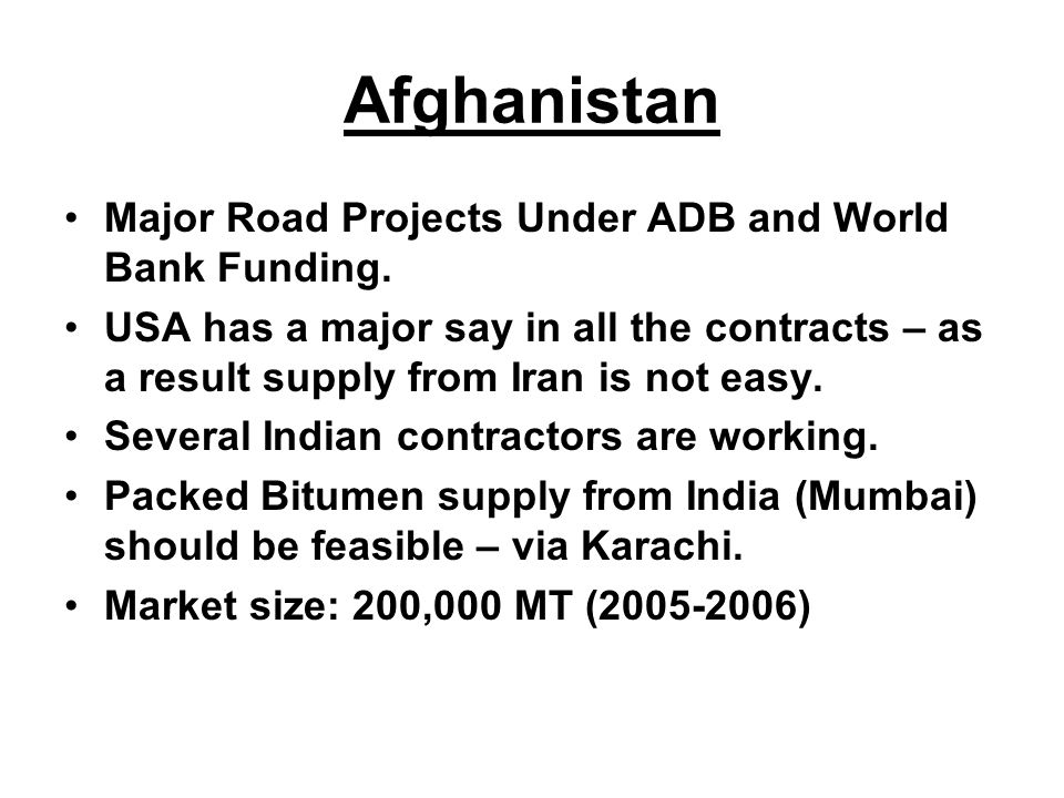 Afghanistan Major Road Projects Under ADB and World Bank Funding.