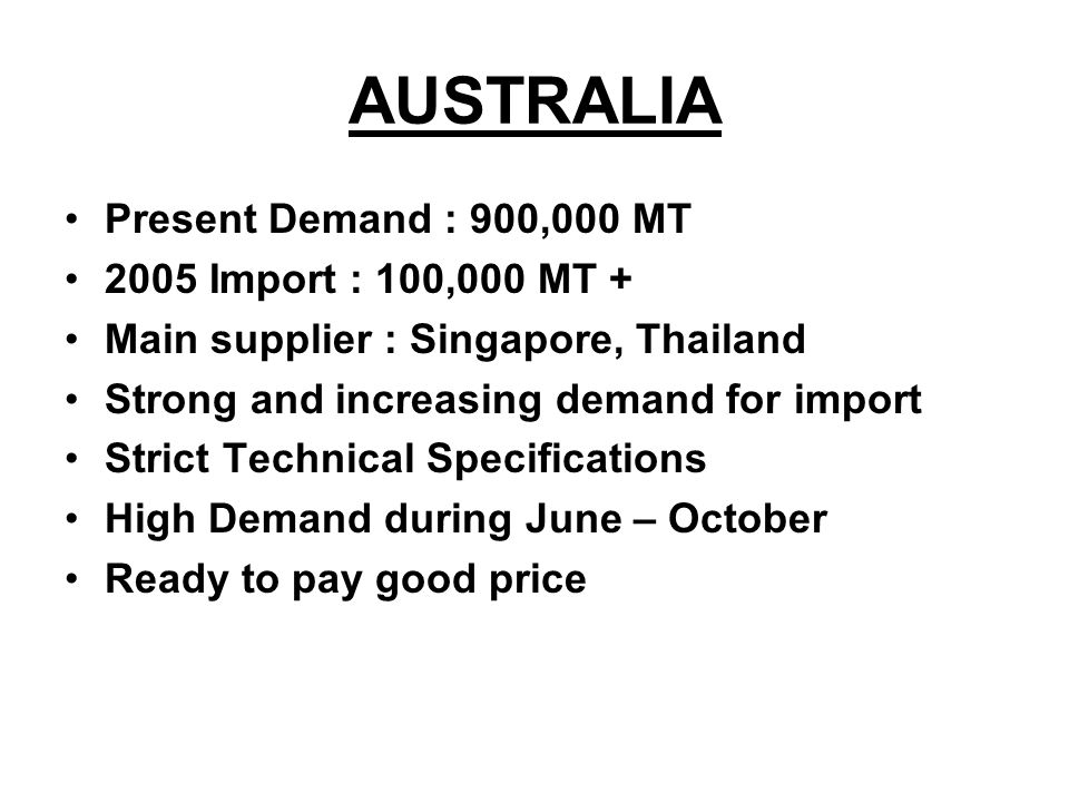 AUSTRALIA Present Demand : 900,000 MT 2005 Import : 100,000 MT +